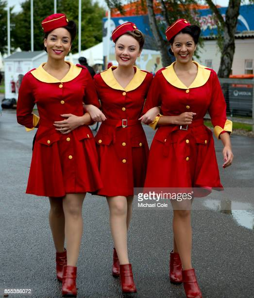The 'Glamcab' girls take a stroll at Goodwood on September 8th 2017 in Chichester England