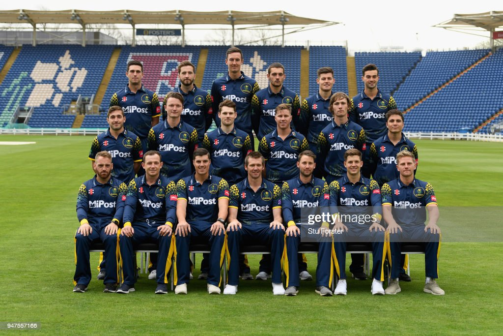 The Glamorgan squad pictured in their T20 kit during the 2018 Glamorgan CCC photocall at SSE Swalec Stadium on April 17, 2018 in Cardiff, Wales.