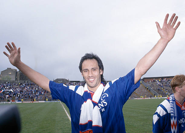 GLASGOW, SCOTLAND - SEPTEMBER 22: Mark Hateley of Glasgow Rangers celebrates after scoring during the Scottish League Cup Semi