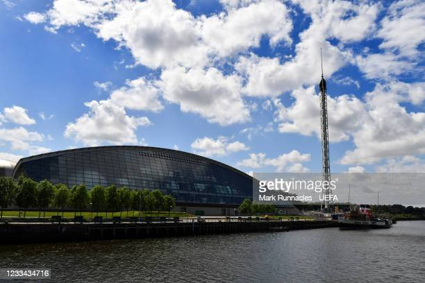 The Glasgow Science Centre and Waverly Paddle Steamer on the banks of the River Clyde during the UEFA Euro 2020 Championship on June 13, 2021 in...