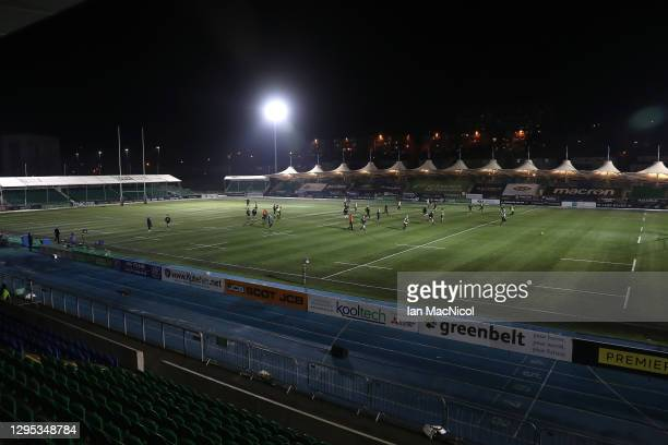 The Glasgow Warriors play touch rugby after the Guinness Pro14 match between Glasgow Warriors and Edinburgh was abandoned due to a frozen pitch at...