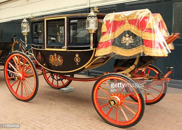 The Glass Coach is pictured at the Royal Mews in central London on March 21 2011 The coach which was built in 1881 will be used to carry Prince...