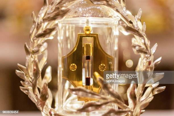 The glass encased reliquary of Pope John Paul II's blood is displayed at the Manila Cathedral in Intramuros The blood was extracted from Pope John...