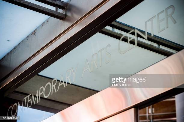The glass sign on the Contemporary Arts Museum where Serena Williams will be getting married later this evening is viewed in New Orleans Louisiana on...