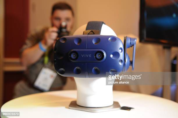 The glasses Vive Pro by the company HTC for the presentation of virtual reality content is presented at the International Consumer Electronics Show...