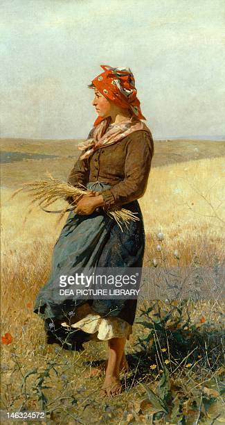 The Gleaner by Francesco Gioli oil on canvas 187x100 cm