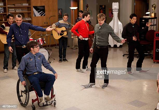 """The glee club boys perform a Spanish song in """"The Spanish Teacher"""" episode of GLEE airing Tuesday, Feb. 7 on FOX. Pictured L-R: Kevin McHale, Mark..."""