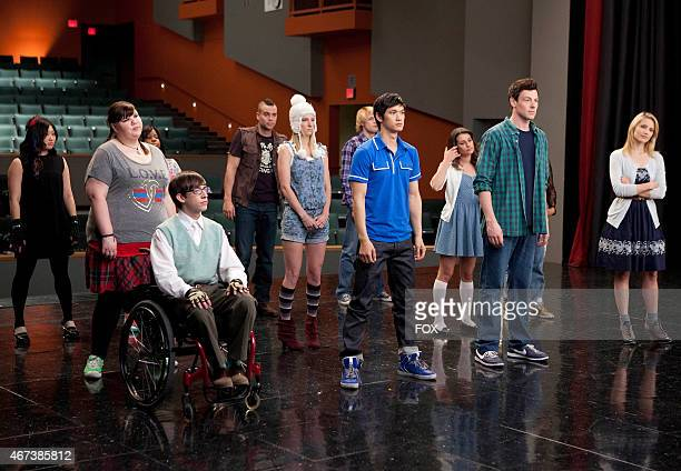 """The glee club gets ready for rehearsal in the super-sized 90-minute """"Born This Way"""" episode of GLEE airing Tuesday; April 26 on FOX. ."""