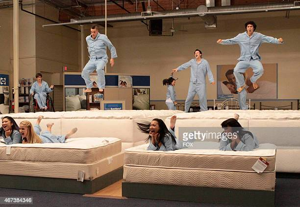 """The Glee Club has fun filming a local commercial in the """"Mattress"""" episode of GLEE airing Wednesdsay, Dec. 2 on FOX. Pictured bottom row L-R: Jenna..."""