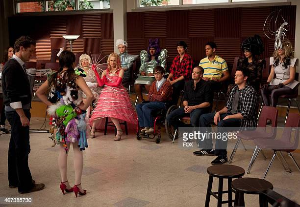 """The glee club is not impressed with Rachel's outfit as Lady Gaga's homage in the """"Theatricality"""" episode of GLEE airing Tuesday, May 25 on FOX...."""