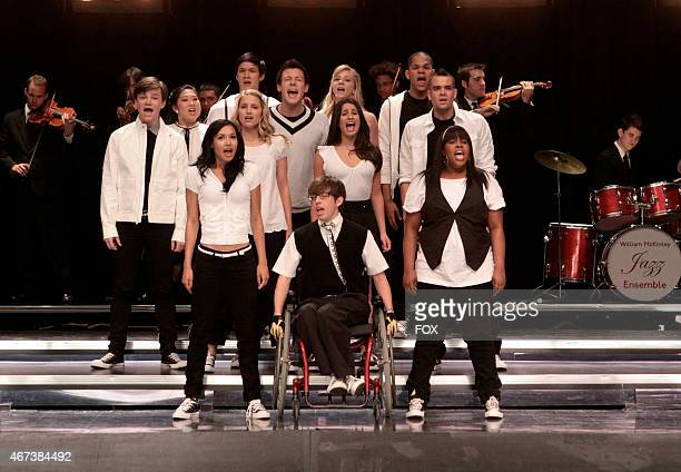 """The Glee Club performs in the """"Throwdown"""" episode of GLEE airing Wednesday, Oct. 14 on FOX. Pictured top row L-R: Chris Colfer, Jenna Ushkowitz,..."""