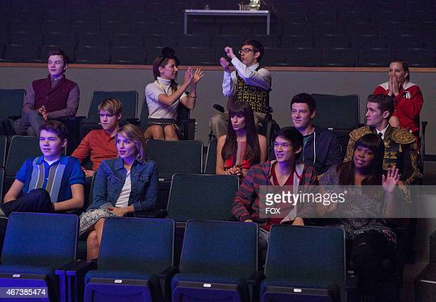 """The glee club watch David and Santana perform in """"The Spanish Teacher"""" episode of GLEE airing Tuesday, Feb. 7 on FOX. Pictured back row L-R: Chris..."""