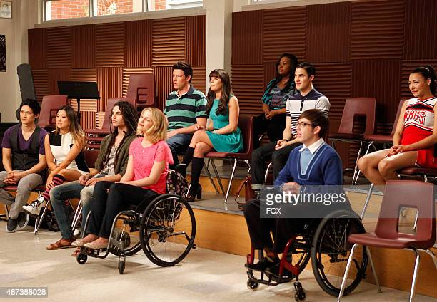 """The glee club watches a performance in the """"Dance With Somebody"""" episode of GLEE airing Tuesday, April 24 on FOX. PIctured L-R front row: Harry Shum..."""