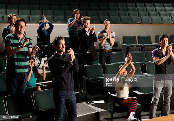 """The glee club watches Santana and Brittany perform in the """"Dance With Somebody"""" episode of GLEE airing Tuesday, April 24 on FOX. Pictured L-R: Cory..."""
