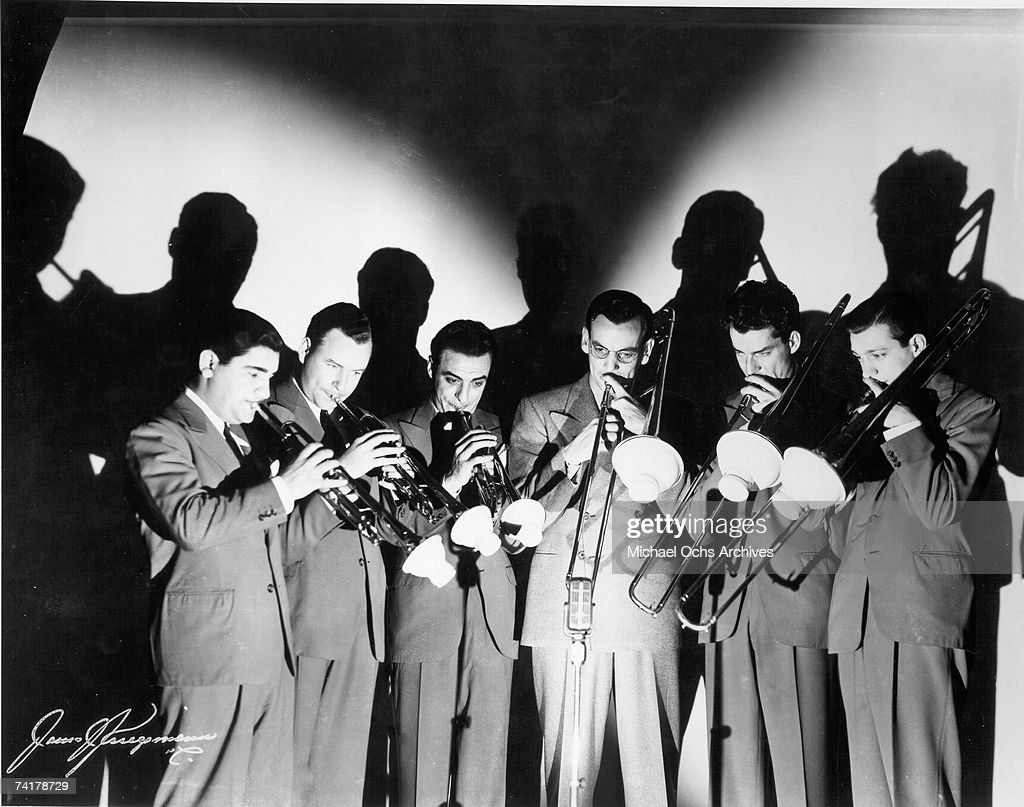 The Glenn Miller Orchestra Horn Section poses for a promotional photo in New York, New York circa 1938.
