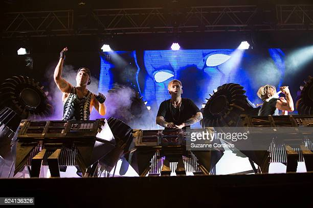 The Glitch Mob perform on stage during weekend two day one of Austin City Limits Music Festival at Zilker Park on October 10 2014 in Austin Texas