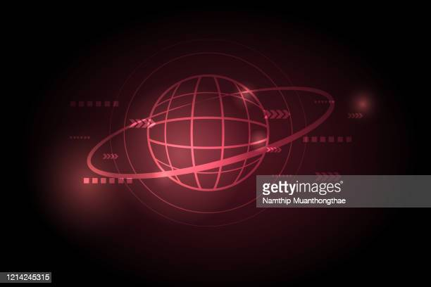 the global connection concept on the dark red background with the movement arrow sign illustration - vector illustrations stock pictures, royalty-free photos & images