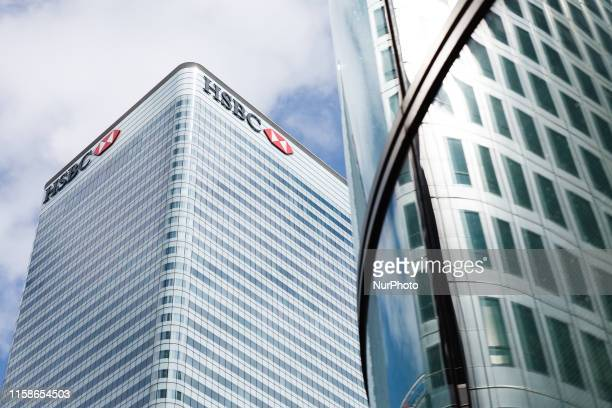 The global headquarters of HSBC 8 Canada Square stands in the Canary Wharf financial district on the Isle of Dogs in London England on July 30 2019...