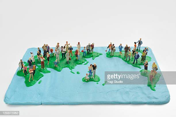 The global map made ??from clay on the people