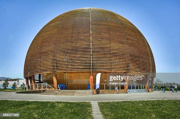 The Globe of Science and Innovation at CERN Geneva Switzerland The wooden building houses the visitors' center at the major laboratory site for the...