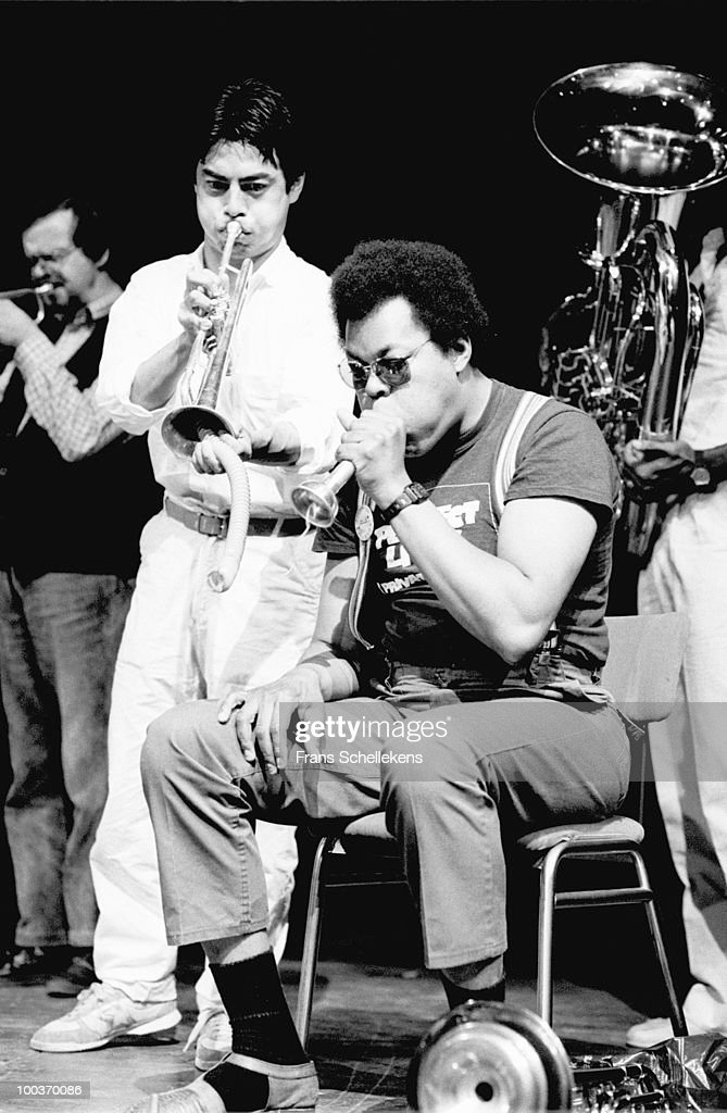 The Globe Unity Orchestra perform live on stage at the Jazz Marathon in Groningen, Netherlands on May 30 1982 L-R Kenny Wheeler, Toshinoro Kondo, George Lewis