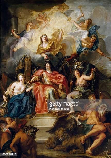 The glorification of Louis XIV. Found in the collection of Musée de l'Histoire de France, Château de Versailles.