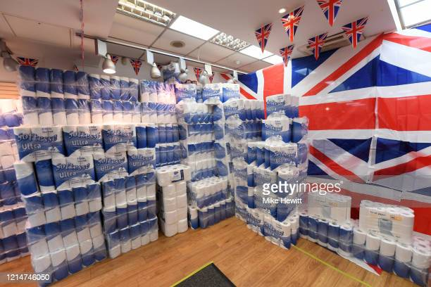 The Glorious Britannia Gift shop stocks up on toilet rolls on March 25 2020 in Brighton England British Prime Minister Boris Johnson announced strict...