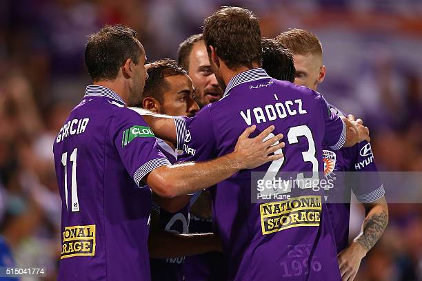 The Glory celebrate a penalty goal by Diego Castro during the round 23 ALeague match between the Perth Glory and the Central Coast Mariners at nib...