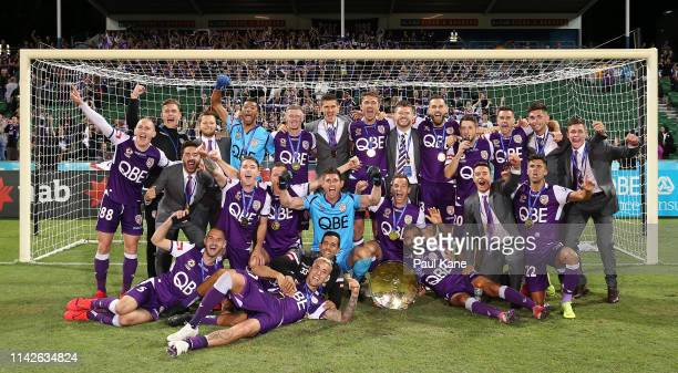 The Glory celebrate with the Premiers Plate following the round 25 ALeague match between the Perth Glory and the Newcastle Jets at HBF Park on April...