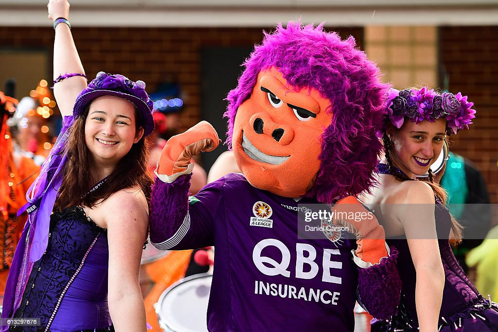 The Glory mascot poses with fans during the round one A-League match between the Perth Glory and the Central Coast Mariners at nib Stadium on October 8, 2016 in Perth, Australia.