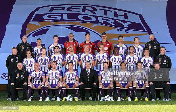 The Glory pose for a team photo during a Perth Glory 201213 ALeague headshots session at Intiga Stadium on September 13 2012 in Perth Australia