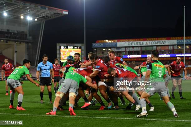 The Gloucester forwards drive a line out during the Gallagher Premiership Rugby match between Gloucester Rugby and Harlequins at Kingsholm Stadium on...