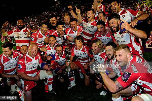 The Gloucester team celebrate following their victory during the European Rugby Challenge Cup Final match between Edinburgh and Gloucester at the...