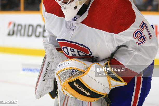 The glove with the colors of the Pittsburgh Penguins of Montreal Canadiens goalie Antti Niemi is shown during the NHL game between the Nashville...