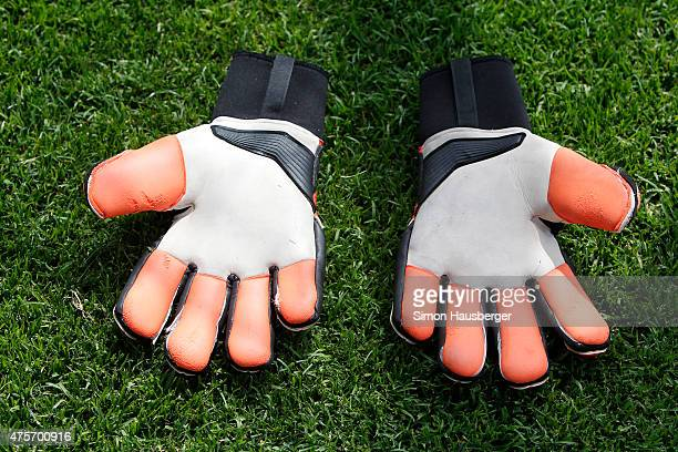The Gloves from Marius Muller of the U 21 German National team during a training Session on June 3 2015 in Leogang Austria