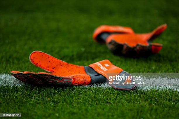 The gloves of Alphonse Areola of Paris SaintGermain / PSG are seen on the floor during the Ligue 1 match between Paris SaintGermain and Lille at Parc...