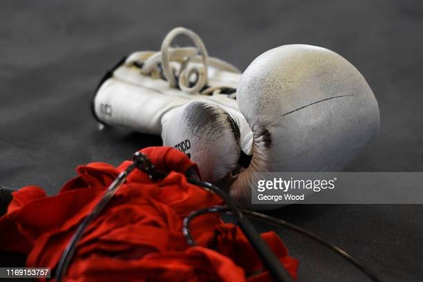 The gloves of Charlie Edwards during the Charlie Edwards Media Workout on August 20 2019 in Sheffield England Charlie will take on Mexico's Julio...