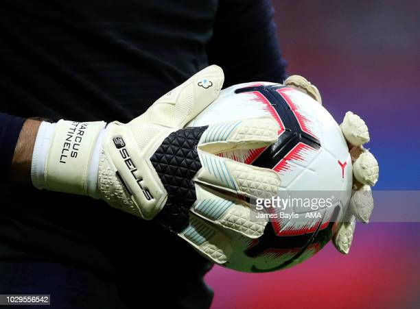 The gloves of Marcus Bettinelli of England before the UEFA Nations League A group four match between England and Spain at Wembley Stadium on...