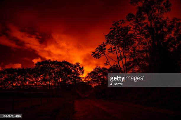 the glow of kilauea from puna hawaii - pele goddess stock pictures, royalty-free photos & images