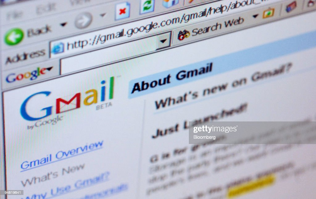 The Gmail logo is pictured on the top of a Gmail.com welcome : News Photo