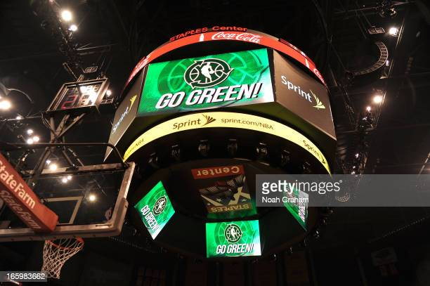 The 'Go Green' logo is seen on the jumbotron during the game between the Los Angeles Lakers and the Los Angeles Clippers at Staples Center on April 7...