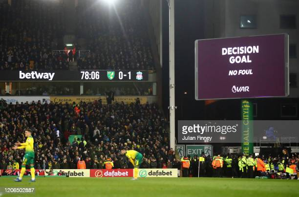 The goal is given after a VAR review during the Premier League match between Norwich City and Liverpool FC at Carrow Road on February 15 2020 in...