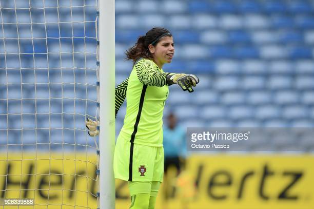 The goal keeper Ines Pereira of Portugal in action during the Women's Algarve Cup Tournament match between Portugal and Australia at Algarve stadium...
