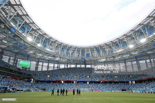 The goal line technology is tested prior to the 2018 FIFA World Cup Russia Round of 16 match between Croatia and Denmark at Nizhny Novgorod Stadium...