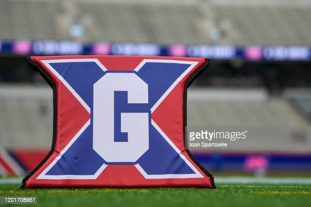 The goal marker sits near the endzone before the football game between the St Louis Battlehawks and Houston Roughnecks at TDECU Stadium February 16...