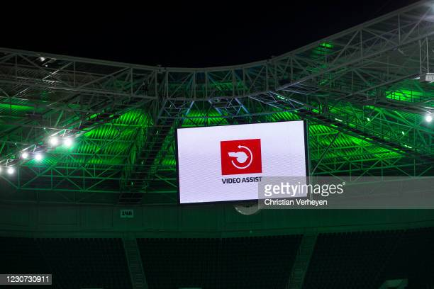 The goal of Nico Elvedi of Borussia Moenchengladbach is checked by the VAR during the Bundesliga match between Borussia Moenchengladbach and Borussia...