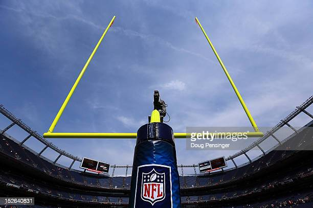 The goal post aims skyward as the field it ready for the Houston Texans and the Denver Broncos as they face off at Sports Authority Field at Mile...