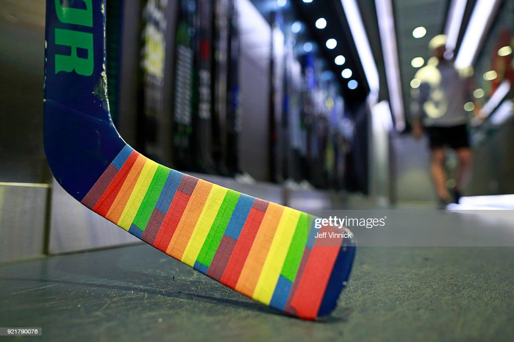 The goal stick of Anders Nilsson #31 of the Vancouver Canucks is covered in Pride tape as it sits in the Canucks dressing room before their NHL game against the Colorado Avalanche at Rogers Arena February 20, 2018 in Vancouver, British Columbia, Canada.