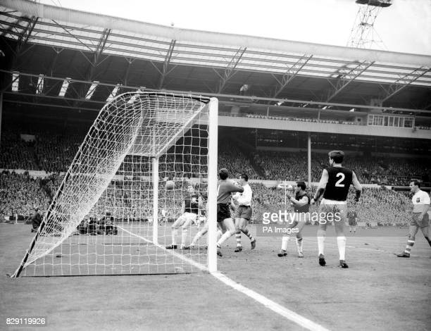 The goal that gave Preston a 21 interval lead headed by centreforward Dawson in the FA Cup Final at Wembley Left to right Burkett Standen Ashworth...