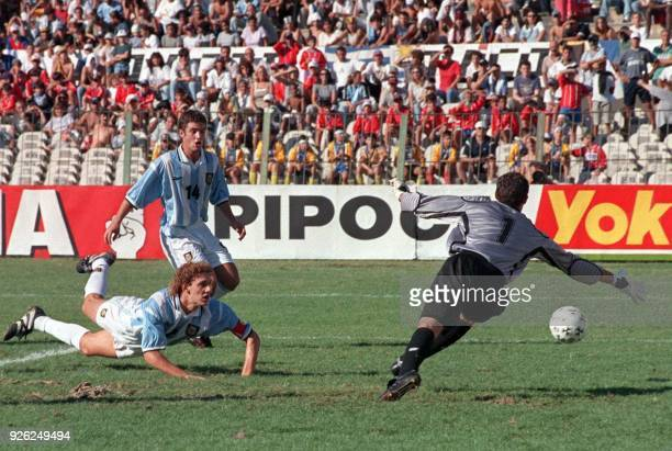 The goalie for the Argentinian soccer team goes for a ball in the South American under17 soccer tournament 21 March 1999 in Montevideo Uruguay...